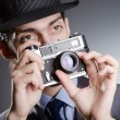 Stock Photo: Photographer mwith vintage camera