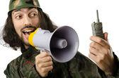 Komik asker üzerinde beyaz izole — Stok fotoğraf