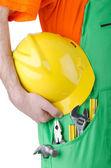 Repairman in coveralls in industrial concept — Stock Photo
