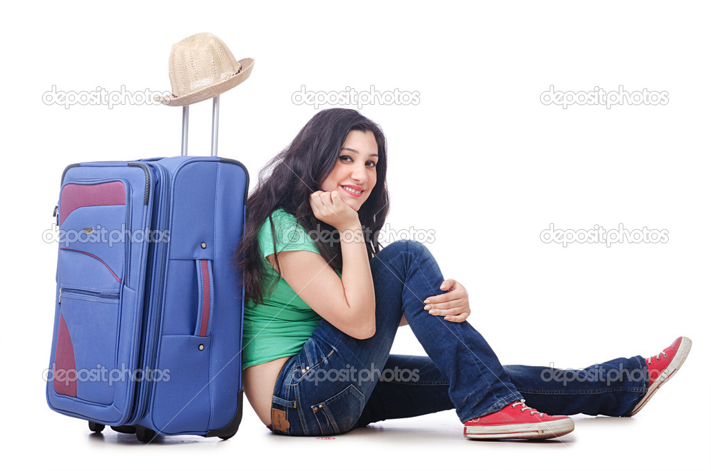 Girl packing for travel vacation — Stock Photo #11317105