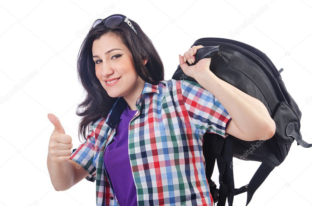 Girl preparing to travel for vacation — Stock Photo #11317204