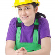 Woman worker with hardhat on white — Stock Photo