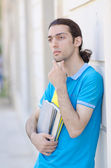 Student outside preparing for exams — Stock Photo