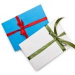 Envelope with colourful ribbon on white — Stock Photo #11578143