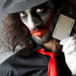 Joker with cards in studio shoot — Stock fotografie