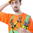 Stock Photo: Repairmin coveralls in industrial concept