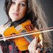 Female violin player against background — Lizenzfreies Foto