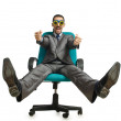 Businessman sitting in the chair on white — Stock Photo #11582728