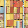 Stacks of containers at the loading port — Stock Photo