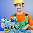 Repairman with his toolkit - Foto Stock