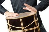 Baterista com tambor tocando em branco — Fotografia Stock
