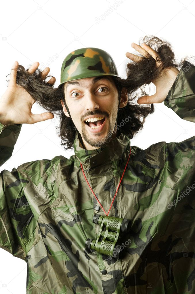 Funny soldier in humour concept  Stock Photo #11636491