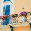 Nice balcony with fresh flowers - Stockfoto