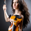 Female violin player against background - ストック写真