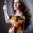 Female violin player against background - Foto de Stock