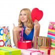 Attractive girl with shopping bags - Stok fotoraf