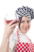 Woman cook isolated on the white — Stock Photo
