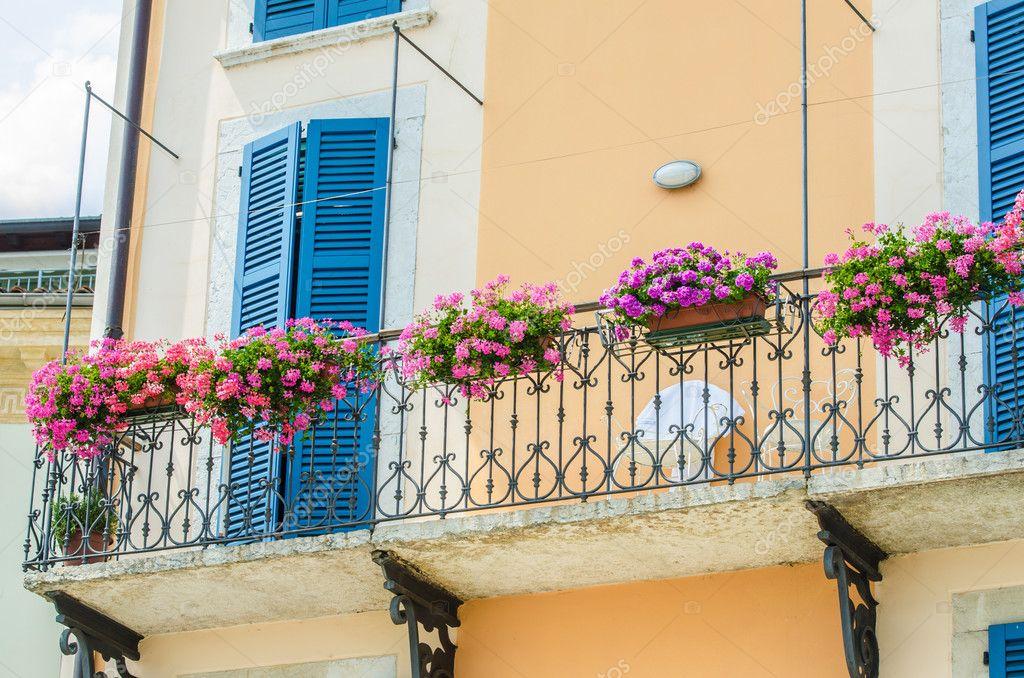 Nice balcony with fresh flowers stock photo colourbox.