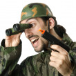 Funny soldier with binoculars — Stock Photo #12023781