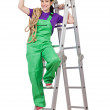 Woman worker standing on ladder — Stock Photo #12025168
