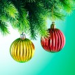 Baubles on christmas tree in celebration concept — Stock Photo #12025519