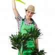 Girl watering plants on white — Stock Photo #12025522