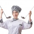 Woman cook with ladle on white — Stock Photo #12025627