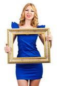 Woman in fashion clothing with photo frame — Stock Photo