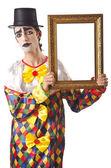Sad clown on the white — Stock Photo