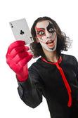 Joker mit Karten in Studio-Shooting — Stockfoto