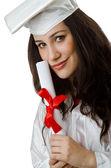 Happy graduate on white background — Foto de Stock