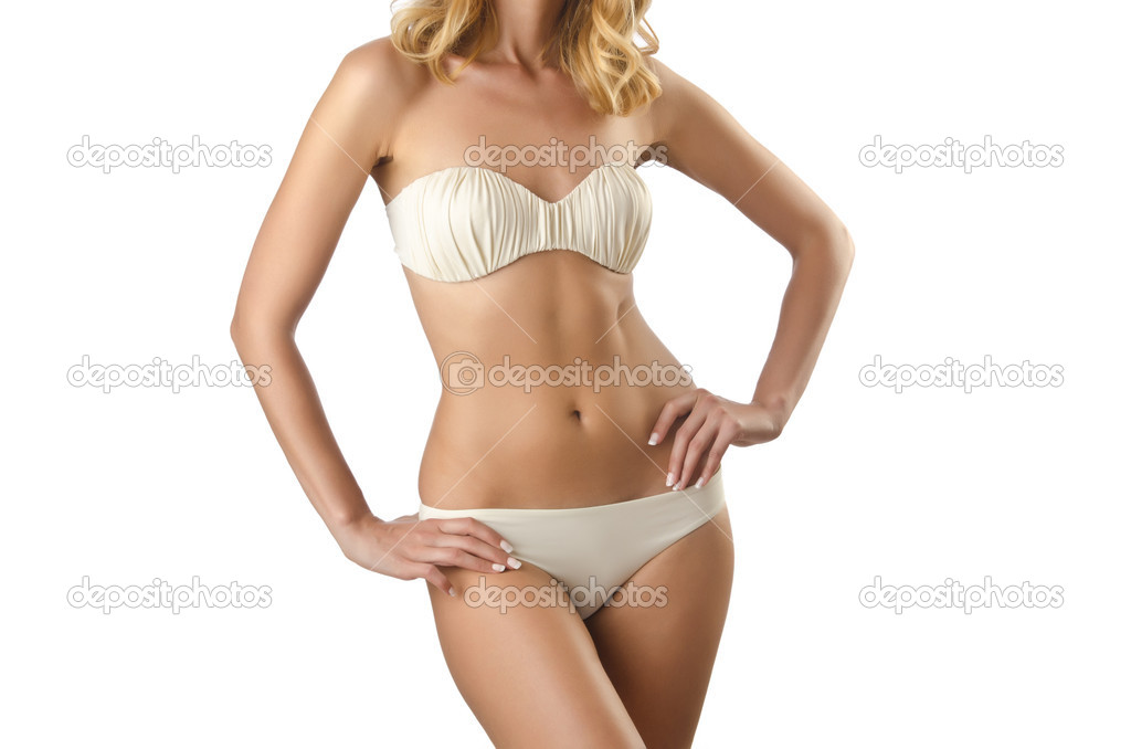 Attractive woman in bikini on white — Stock Photo #12023602