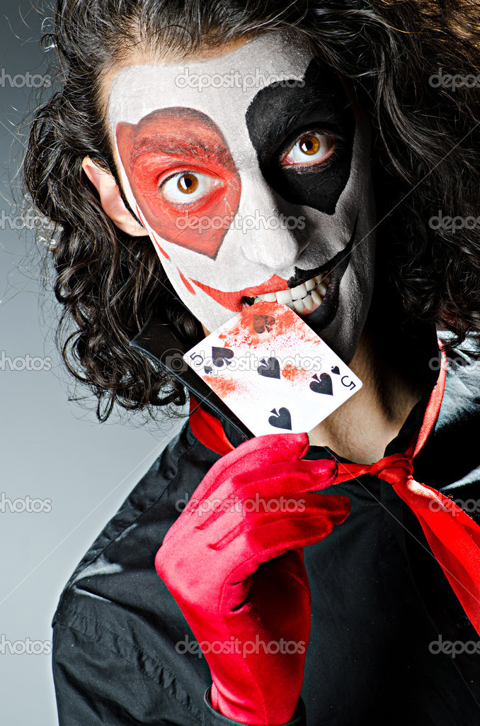 Joker with cards in studio shoot — Stock Photo #12024183