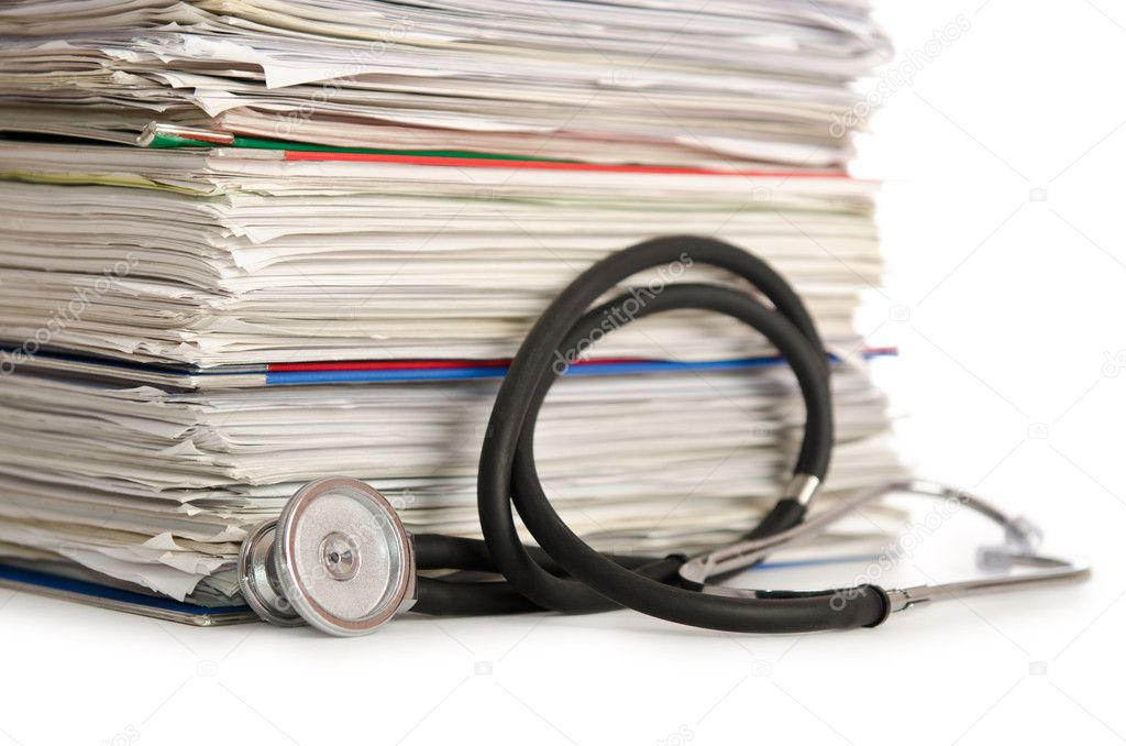 Stack of papers with stethoscope — Stock Photo #12025607