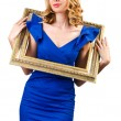 Stock Photo: Woman in fashion clothing with photo frame