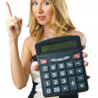 Woman accountant with calculator on white — Stock Photo #12153171