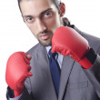Businessman in boxing concept on white — Stock Photo #12153826