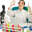 Female chemist in studio on white - Foto de Stock