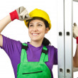 Woman worker with ladder on white — Stock Photo #12155990