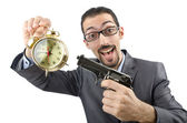 Businessman killing the time on white — Stock Photo