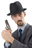 Man with gun isolated on white — Stock Photo