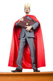 Man in red cover on white — Stock Photo