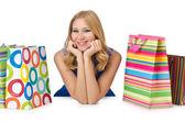 良い買い物の後の幸せな女の子 — ストック写真
