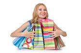 買い物袋を持つ魅力的な少女 — ストック写真