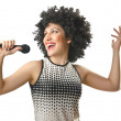 Woman with afro haircut on white — Stock Photo