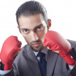 Businessman in boxing concept on white — Stock Photo #12323585