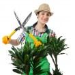 Womgardener trimming plans on white — Stock Photo #12325993