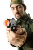 Soldier isolated on the white — Stock Photo