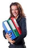 Busineswoman with folders on white — Stock Photo