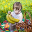 Little girl on picnic - Stock Photo